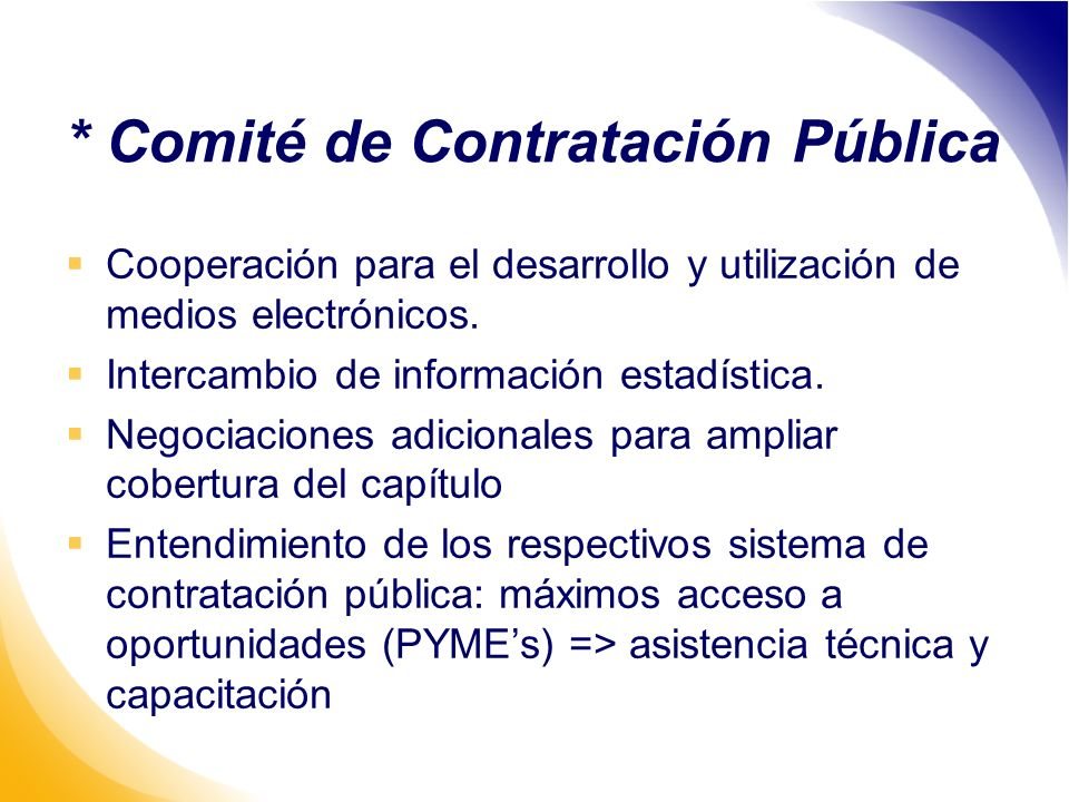 * Comité de Contratación Pública