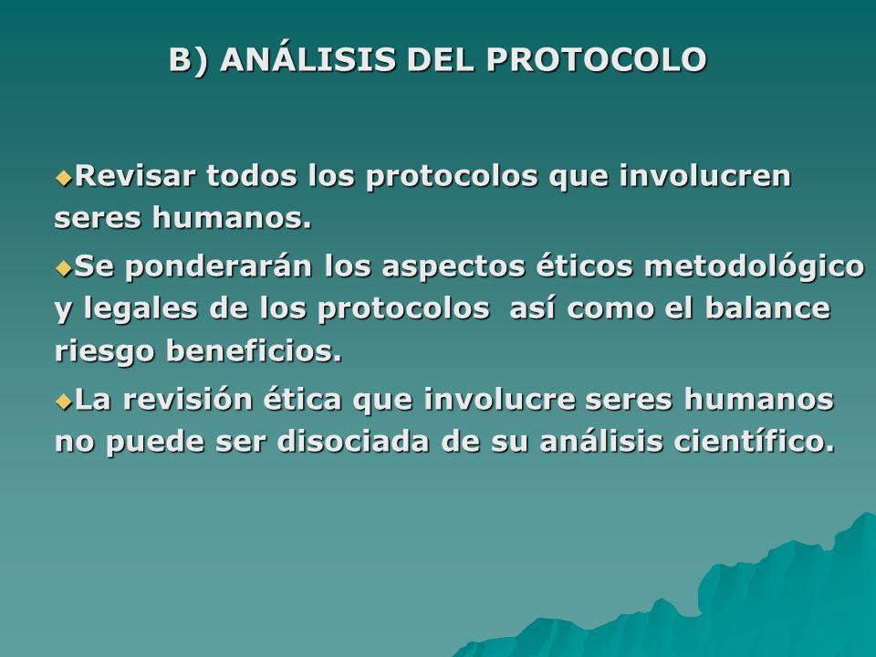 B) ANÁLISIS DEL PROTOCOLO