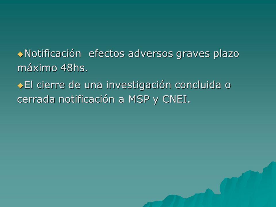 Notificación efectos adversos graves plazo máximo 48hs.