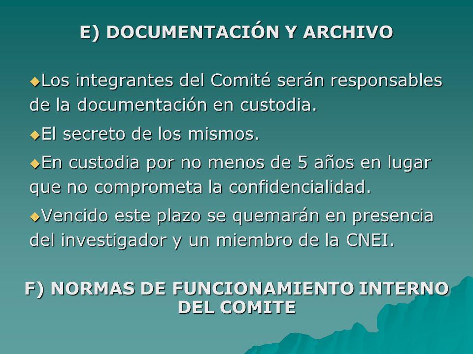E) DOCUMENTACIÓN Y ARCHIVO
