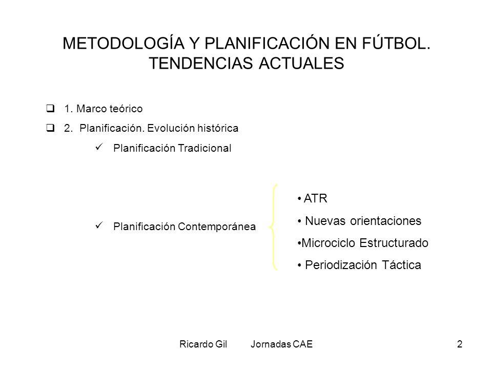 METODOLOGÍA Y PLANIFICACIÓN EN FÚTBOL. TENDENCIAS ACTUALES