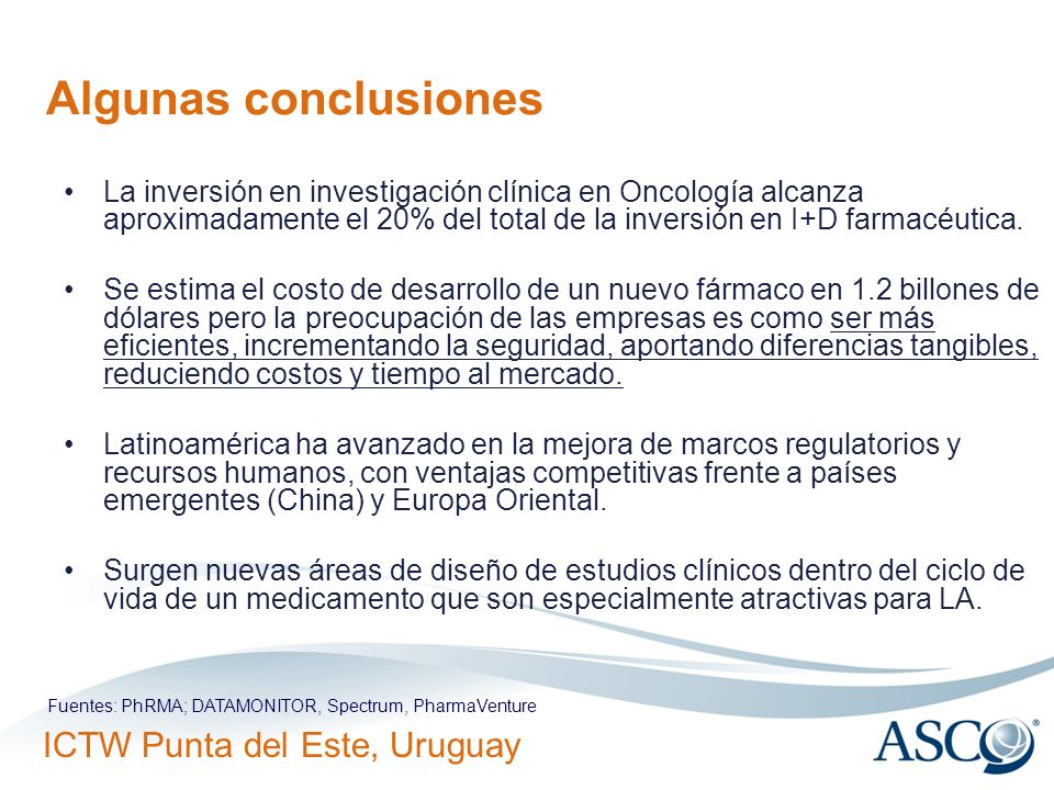Algunas conclusiones La inversión en investigación clínica en Oncología alcanza aproximadamente el 20% del total de la inversión en I+D farmacéutica.