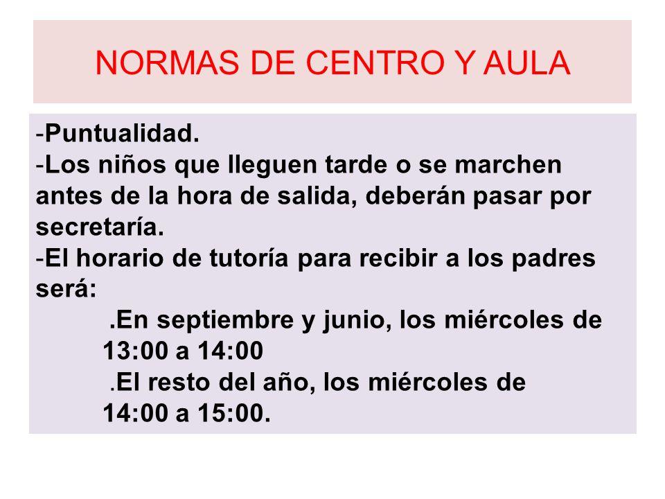 NORMAS DE CENTRO Y AULA Puntualidad.