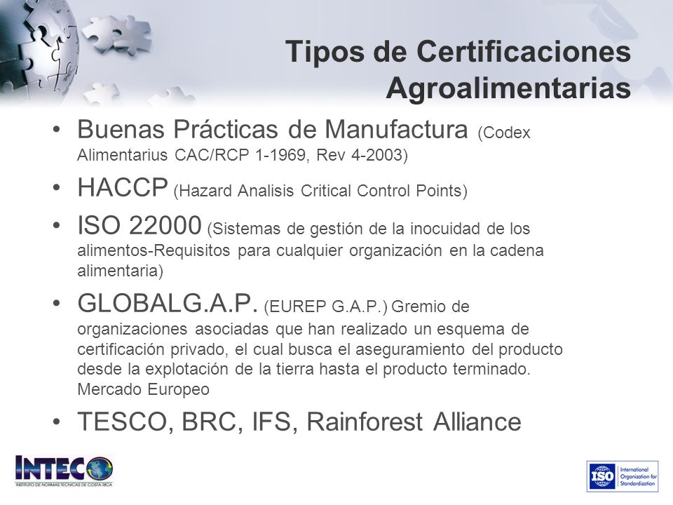 Tipos de Certificaciones Agroalimentarias