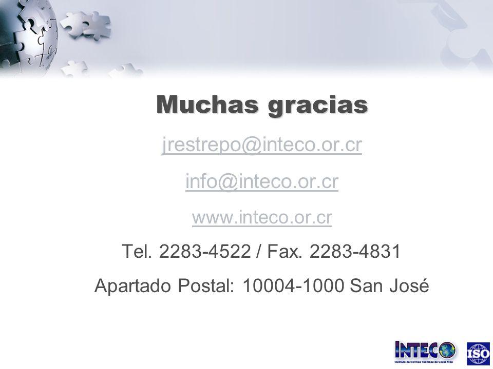 Muchas gracias jrestrepo@inteco.or.cr info@inteco.or.cr www.inteco.or.cr Tel.