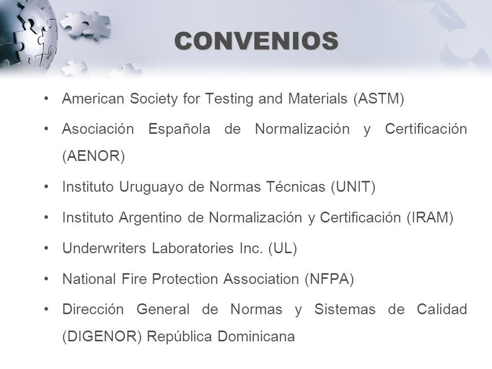 CONVENIOS American Society for Testing and Materials (ASTM)