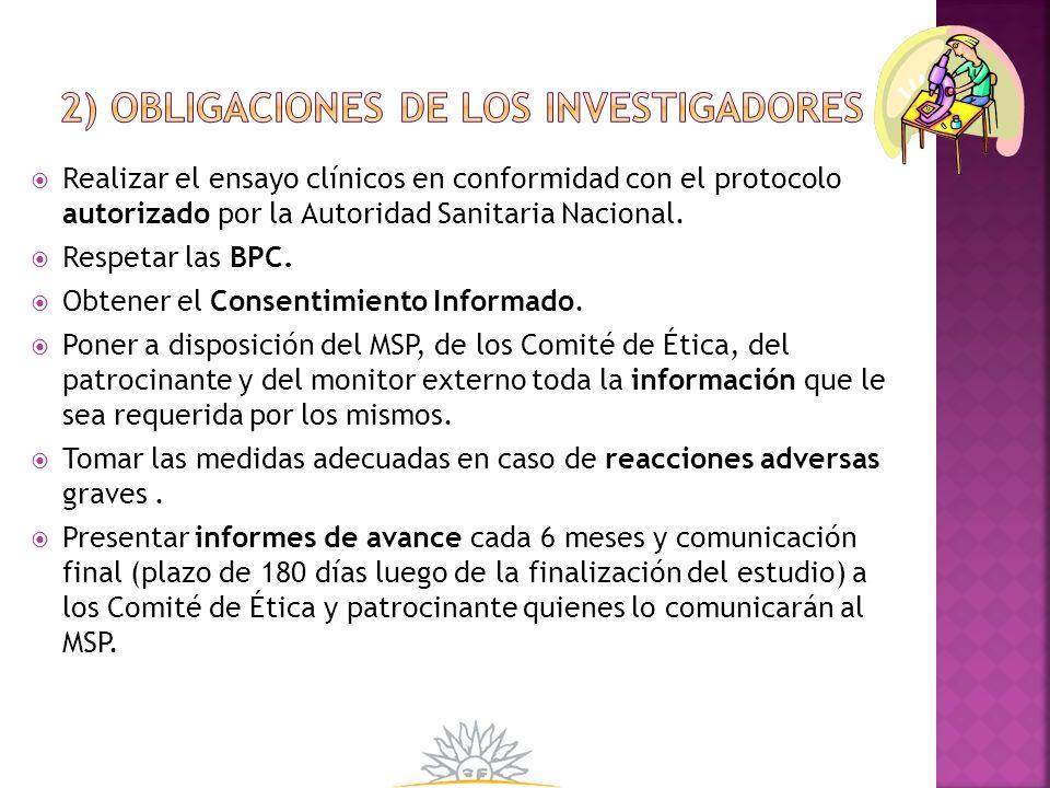 2) Obligaciones de los investigadores