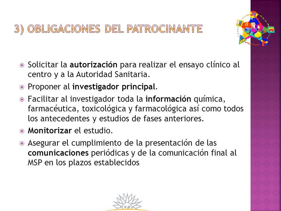3) Obligaciones del patrocinante