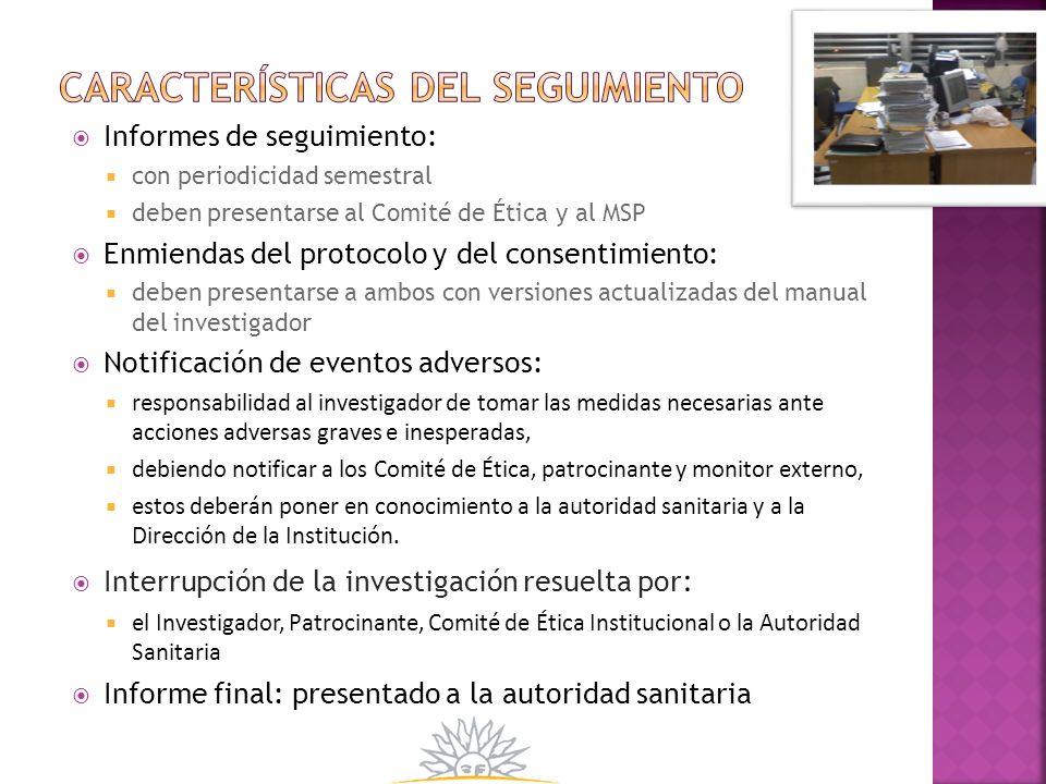 Características del seguimiento