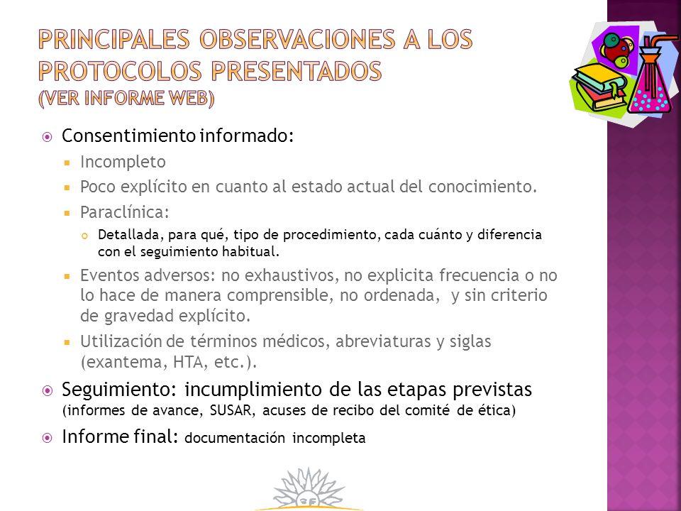 Principales Observaciones a los protocolos presentados (ver informe web)