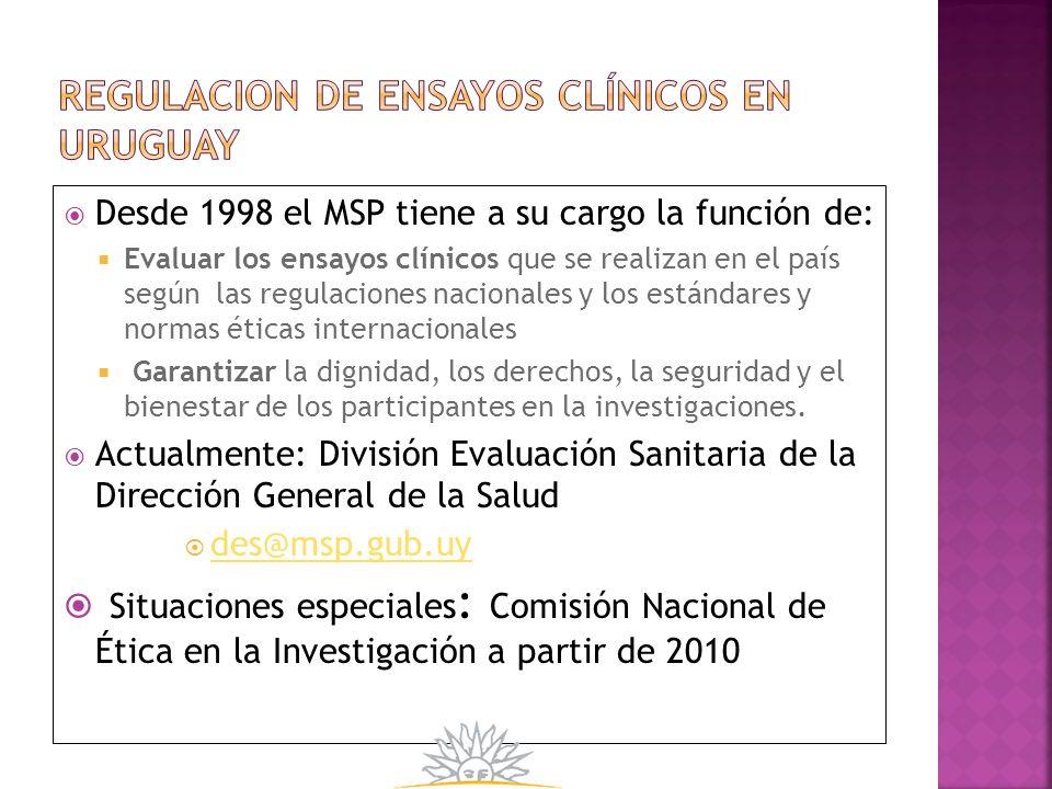 REGULACION DE ensayos clínicos en uruguay