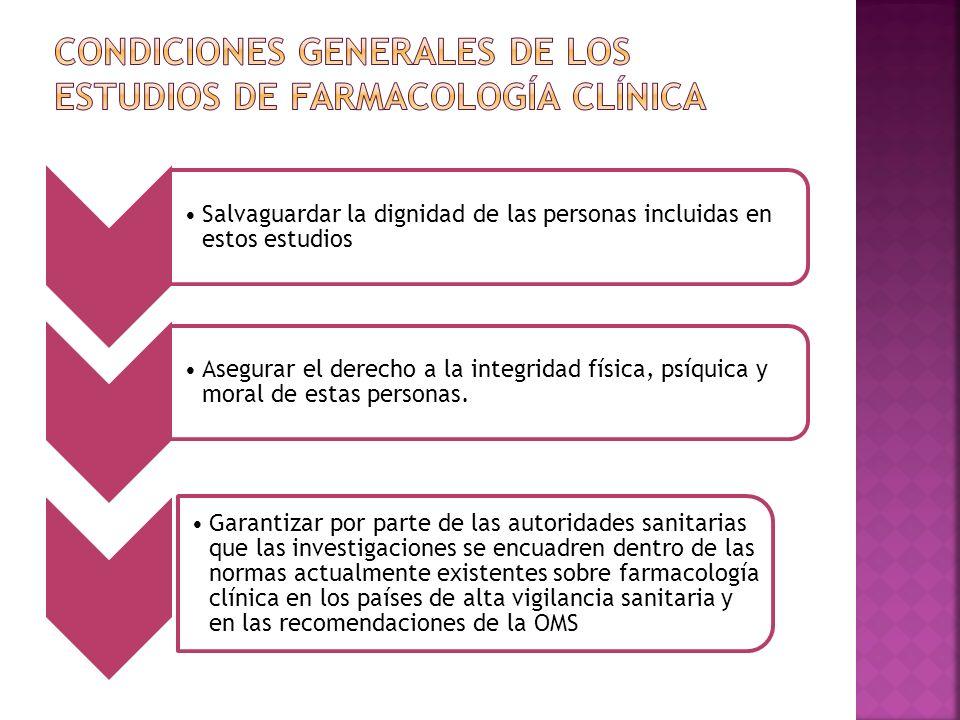 Condiciones generales de los estudios de farmacología clínica