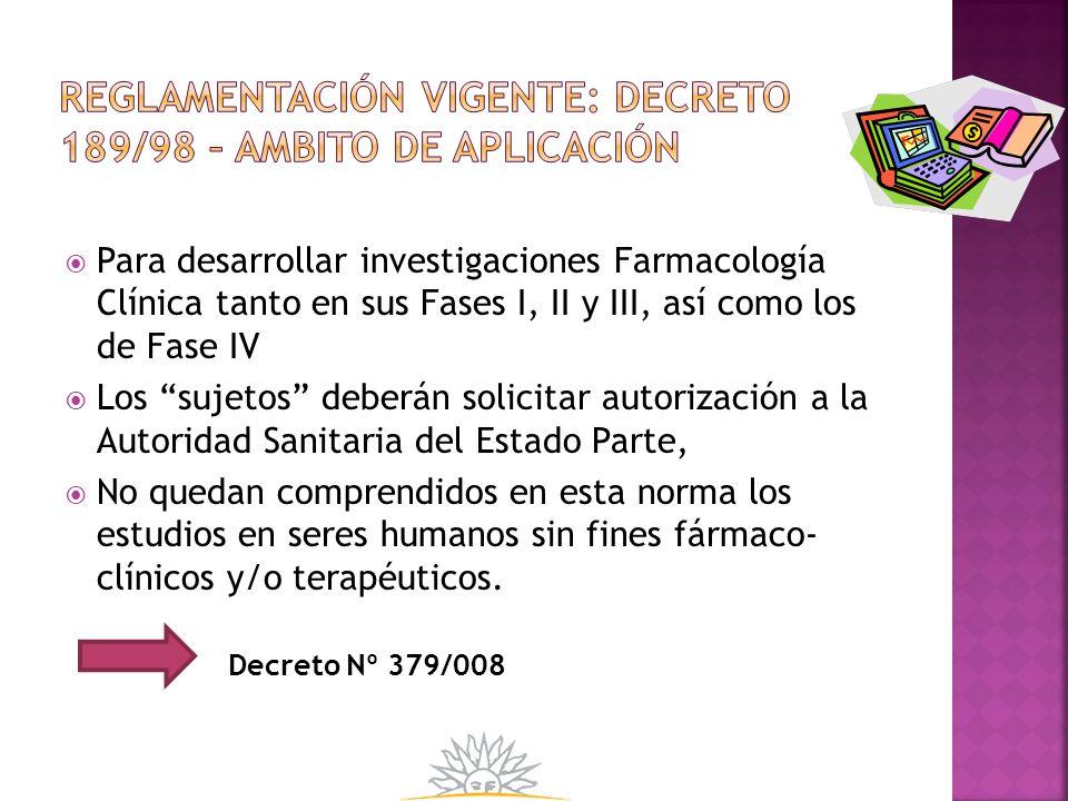 reglamentación vigente: decreto 189/98 – AMBITO DE APLICACIÓN