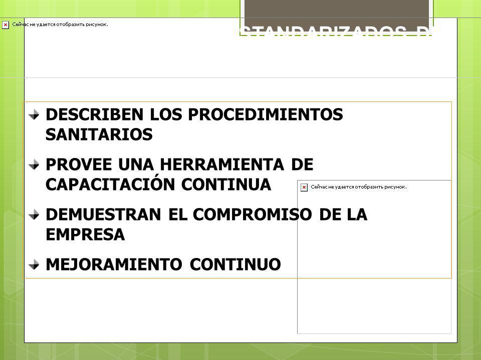 PROCEDIMIENTOS ESTANDARIZADOS DE SANITIZACIÓN (SSOP´S)
