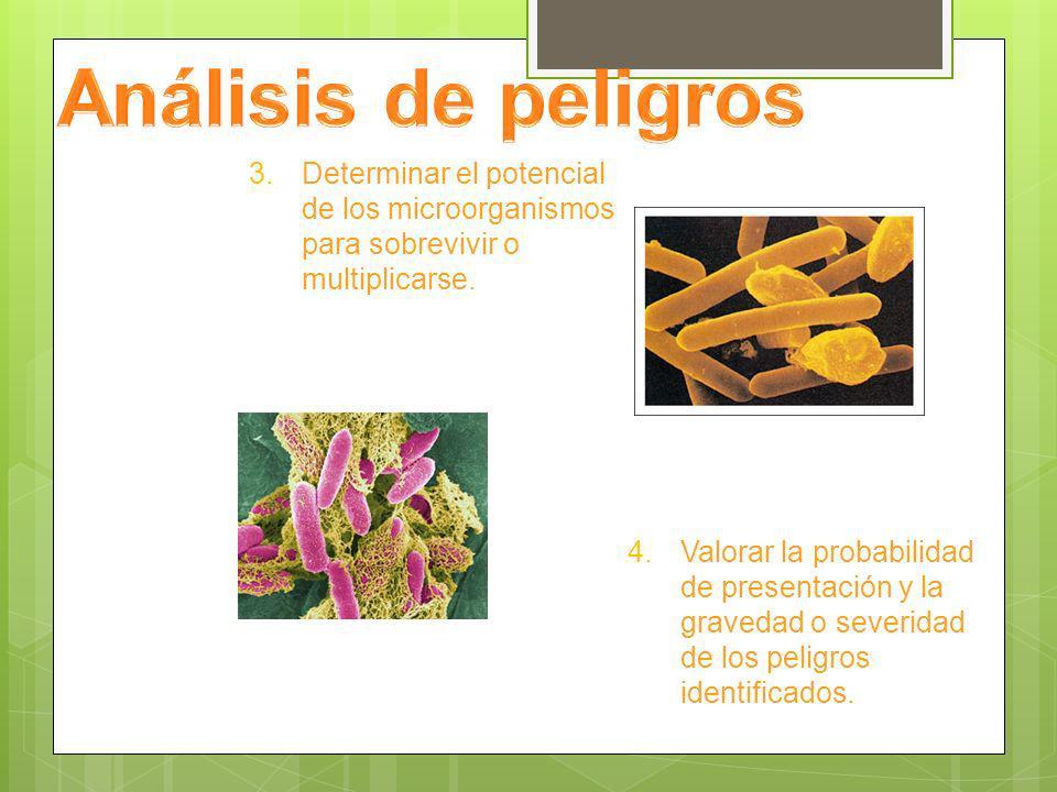 Análisis de peligros Determinar el potencial de los microorganismos para sobrevivir o multiplicarse.
