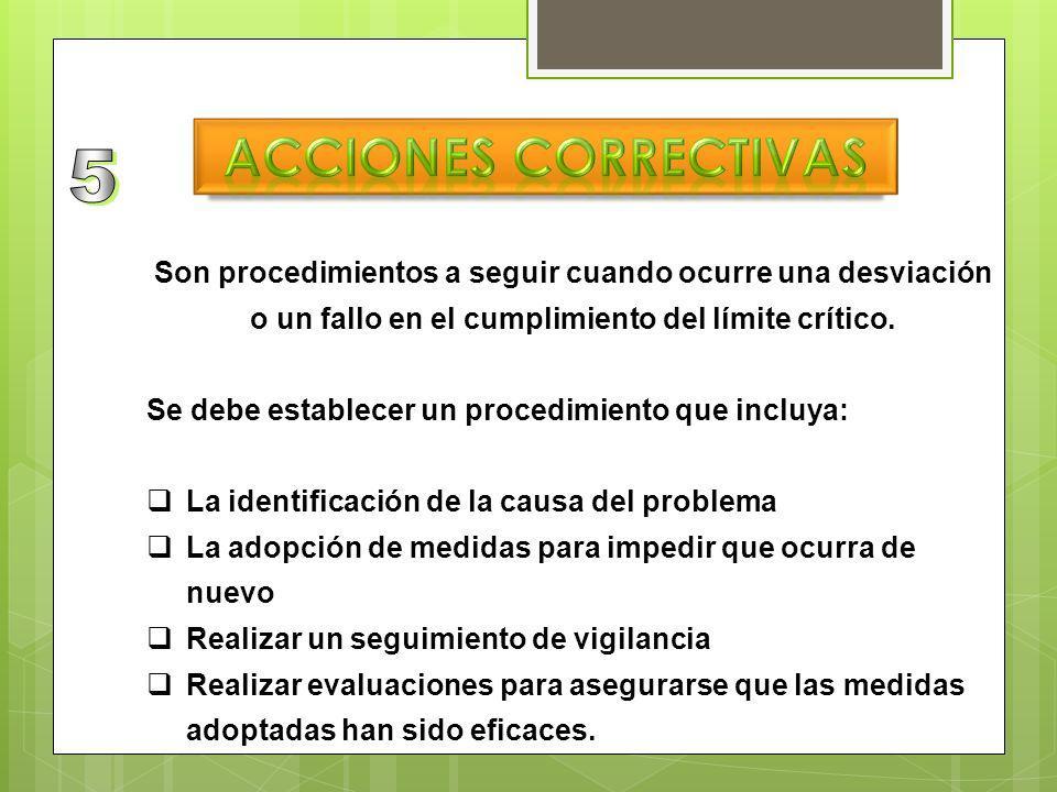 Acciones correctivas 5. Son procedimientos a seguir cuando ocurre una desviación o un fallo en el cumplimiento del límite crítico.