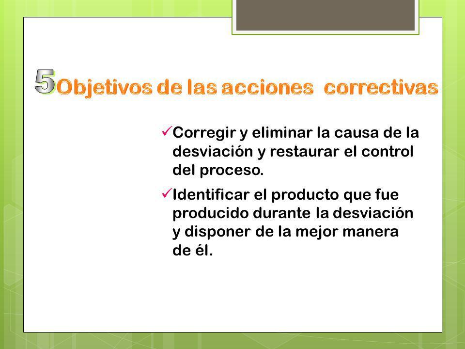 Objetivos de las acciones correctivas