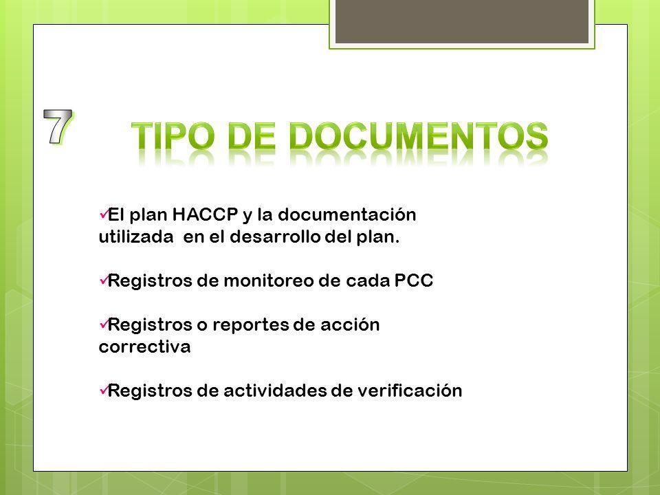 7 Tipo de documentos. El plan HACCP y la documentación utilizada en el desarrollo del plan. Registros de monitoreo de cada PCC.