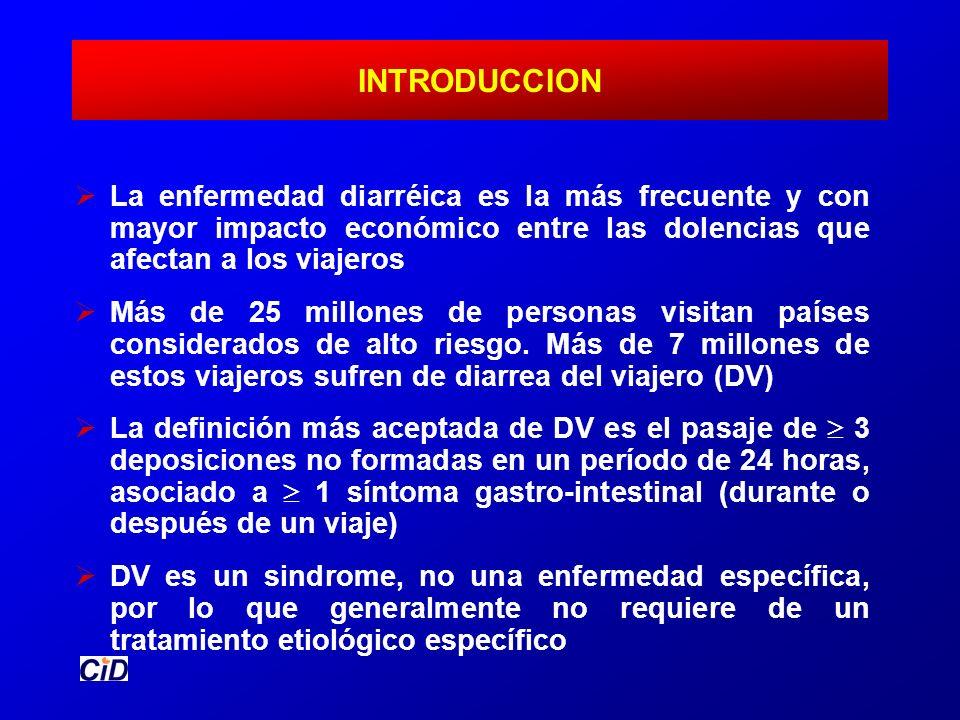 INTRODUCCION La enfermedad diarréica es la más frecuente y con mayor impacto económico entre las dolencias que afectan a los viajeros.
