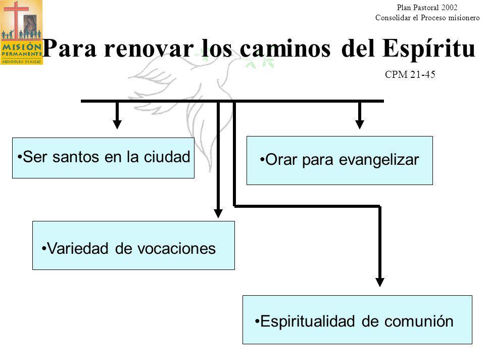 Para renovar los caminos del Espíritu