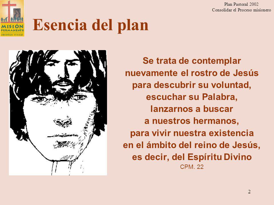 Esencia del plan Se trata de contemplar nuevamente el rostro de Jesús