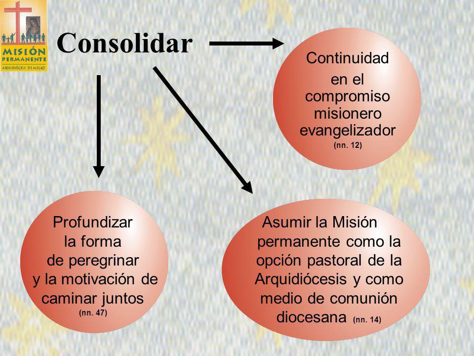 Consolidar Continuidad en el compromiso misionero evangelizador