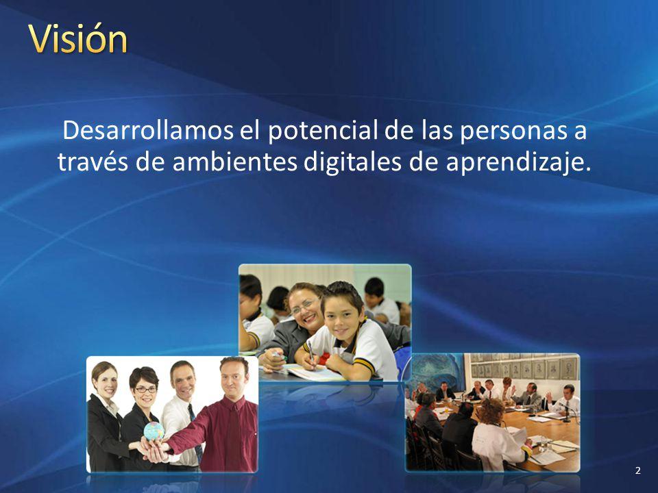 Visión Desarrollamos el potencial de las personas a través de ambientes digitales de aprendizaje.