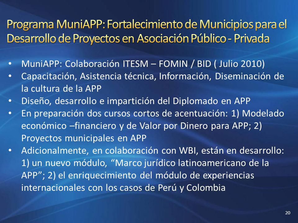 Programa MuniAPP: Fortalecimiento de Municipios para el Desarrollo de Proyectos en Asociación Público - Privada