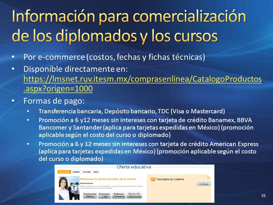 Información para comercialización de los diplomados y los cursos