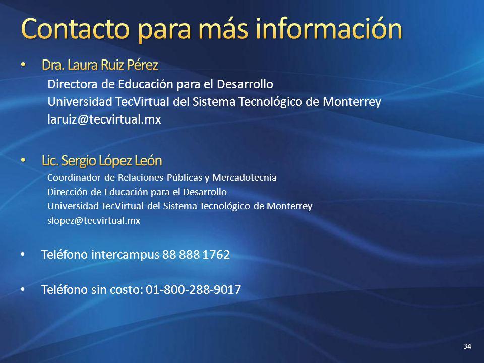 Contacto para más información