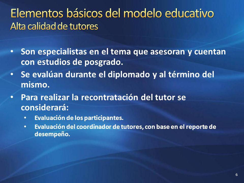 Elementos básicos del modelo educativo Alta calidad de tutores