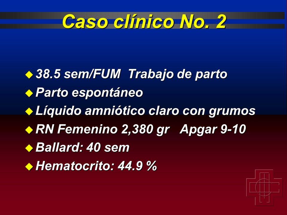 Caso clínico No. 2 38.5 sem/FUM Trabajo de parto Parto espontáneo
