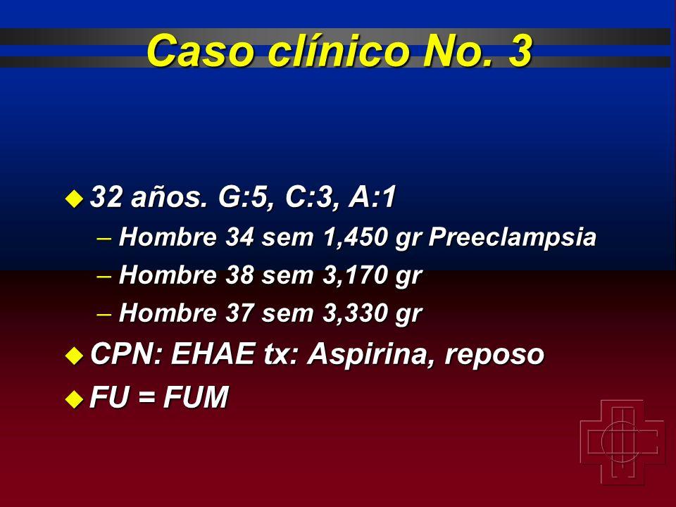 Caso clínico No. 3 32 años. G:5, C:3, A:1
