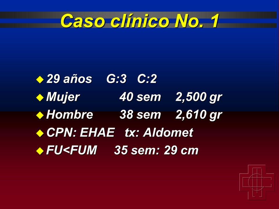 Caso clínico No. 1 29 años G:3 C:2 Mujer 40 sem 2,500 gr