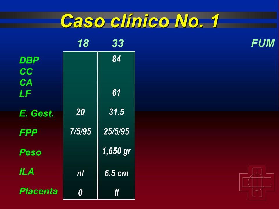 Caso clínico No. 1 18 33 FUM DBP CC CA LF E. Gest. FPP Peso ILA