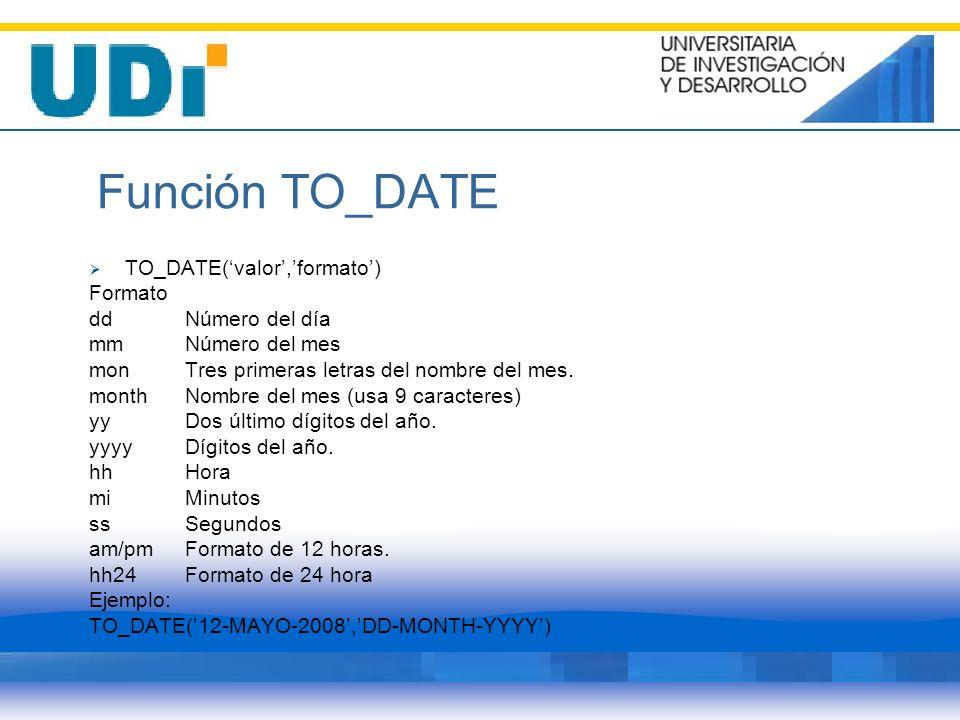 Función TO_DATE TO_DATE('valor','formato') Formato dd Número del día