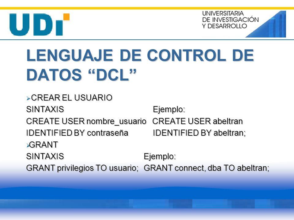 LENGUAJE DE CONTROL DE DATOS DCL