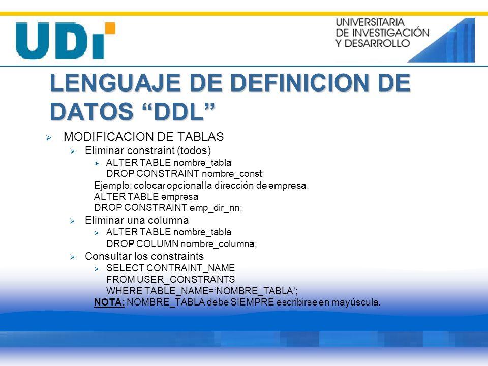 LENGUAJE DE DEFINICION DE DATOS DDL