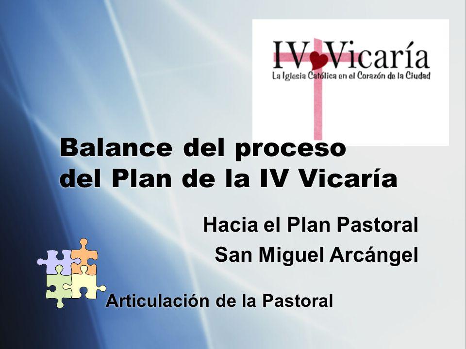 Balance del proceso del Plan de la IV Vicaría