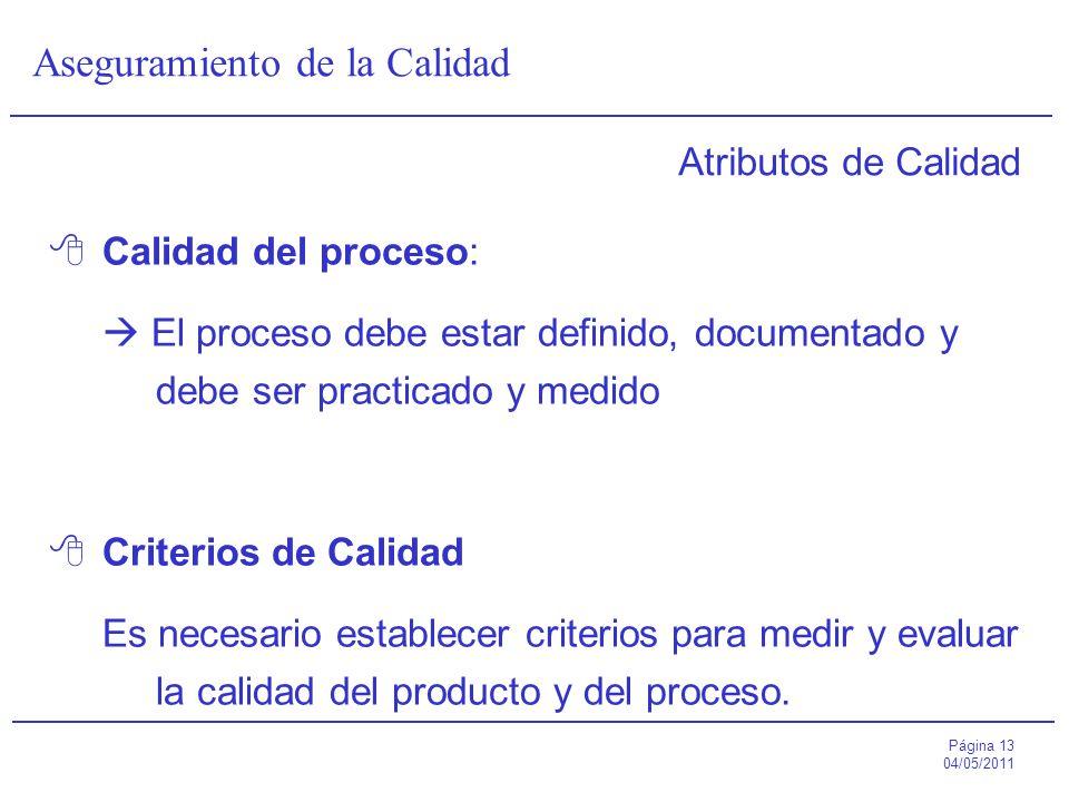 Atributos de Calidad Calidad del proceso:  El proceso debe estar definido, documentado y debe ser practicado y medido.