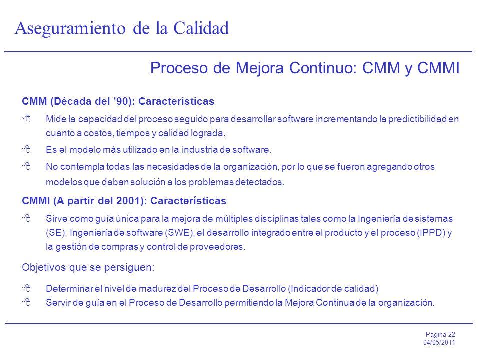 Proceso de Mejora Continuo: CMM y CMMI