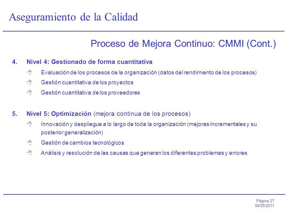 Proceso de Mejora Continuo: CMMI (Cont.)