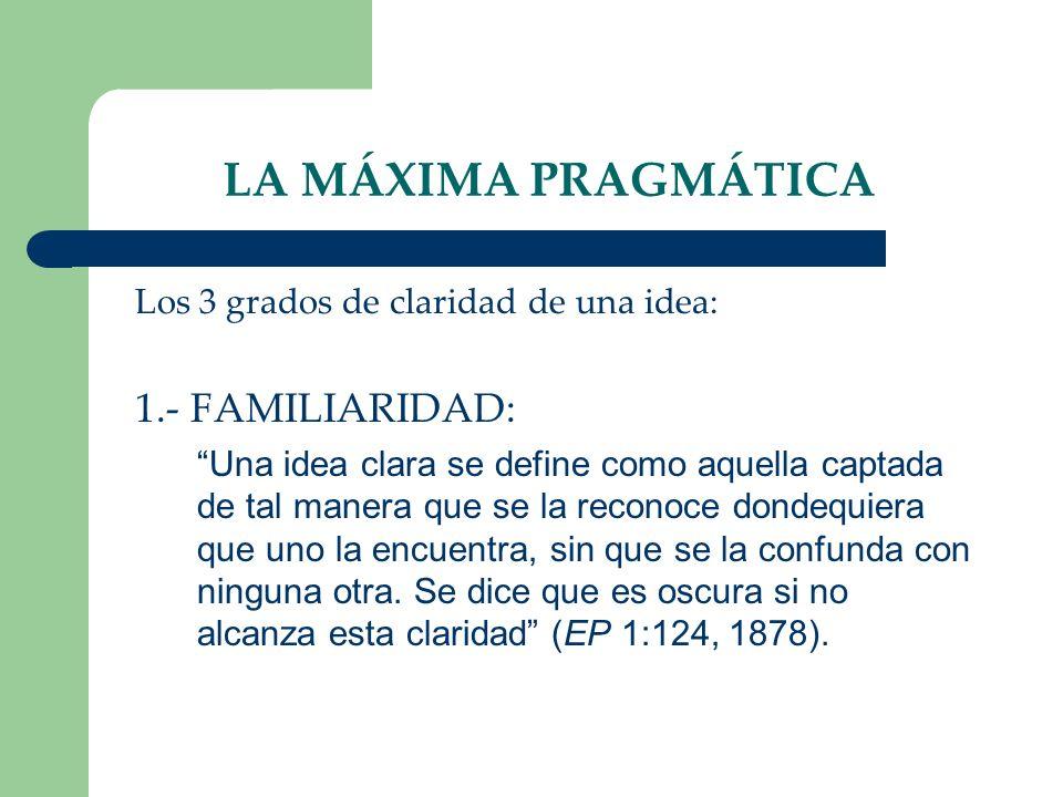 LA MÁXIMA PRAGMÁTICA 1.- FAMILIARIDAD: