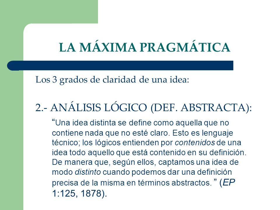 LA MÁXIMA PRAGMÁTICA 2.- ANÁLISIS LÓGICO (DEF. ABSTRACTA):