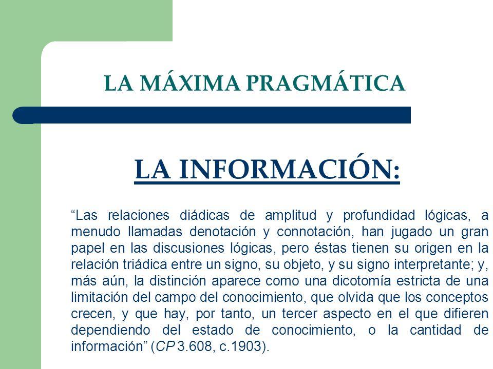 LA INFORMACIÓN: LA MÁXIMA PRAGMÁTICA