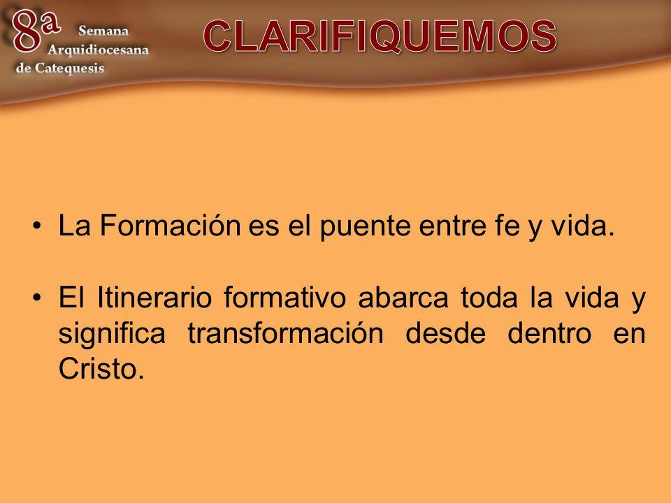 CLARIFIQUEMOS La Formación es el puente entre fe y vida.