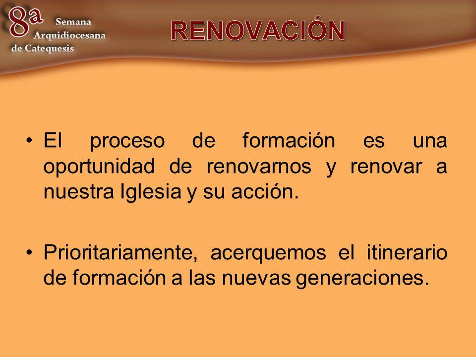 RENOVACIÓN El proceso de formación es una oportunidad de renovarnos y renovar a nuestra Iglesia y su acción.