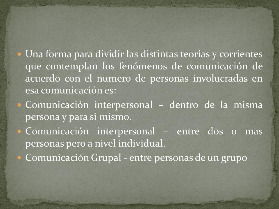 Una forma para dividir las distintas teorías y corrientes que contemplan los fenómenos de comunicación de acuerdo con el numero de personas involucradas en esa comunicación es: