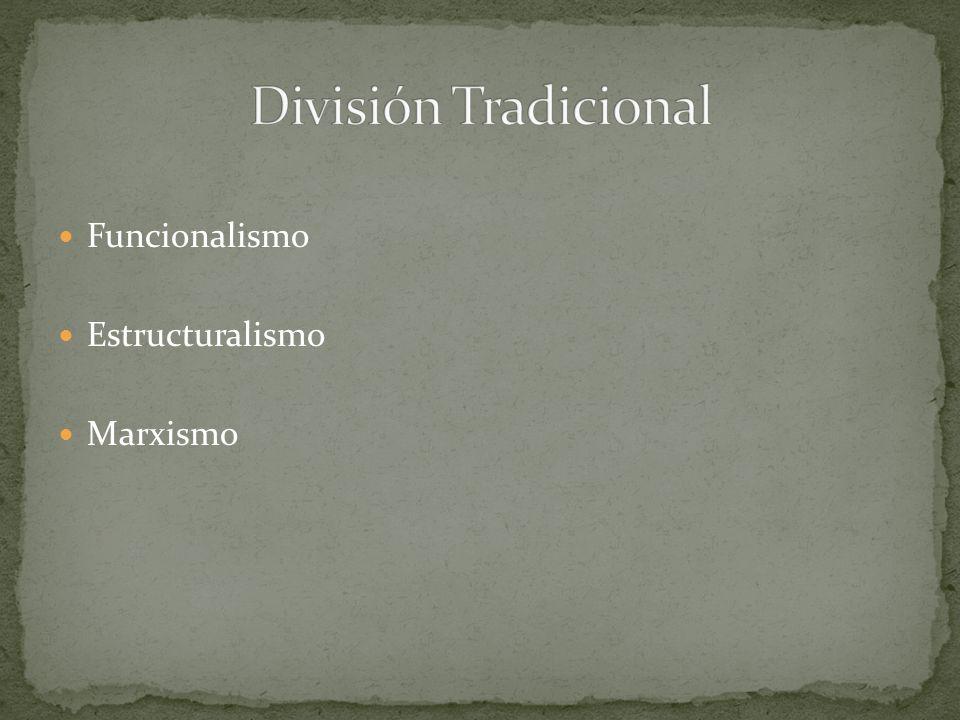 División Tradicional Funcionalismo Estructuralismo Marxismo