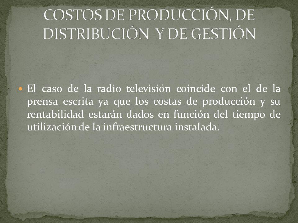 COSTOS DE PRODUCCIÓN, DE DISTRIBUCIÓN Y DE GESTIÓN